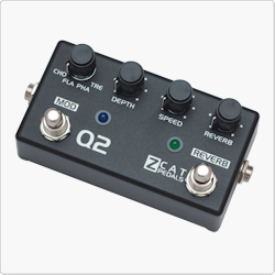 ZCAT Q-Mod 2 is a digital guitar multi-effects processor featuring Chorus, Flanger, Phaser and Tremolo. The handmade guitar effects pedal features also an independent Reverb effect that can be used with or without other effects.