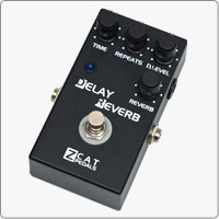 ZCAT Delay - Reverb provides a high quality digital delay (up to 700ms) and reverberation effect in one compact handmade guitar effects pedal.