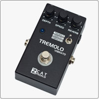 ZCAT Tremolo - Vibrato provides quality classic Tremolo and Vibrato effects. The handmade boutique guitar pedal features also an independent Reverb effect that can be used with or without Tremolo and Vibrato effects.